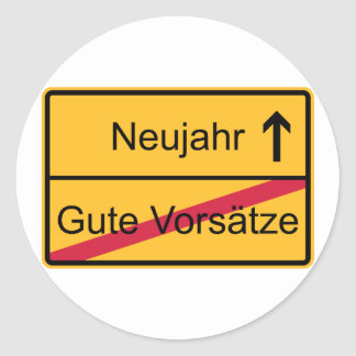 German place name sign classic round sticker