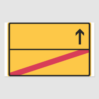 German place name sign, local exit rectangular sticker