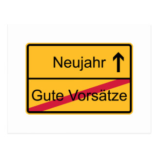 German place name sign postcard