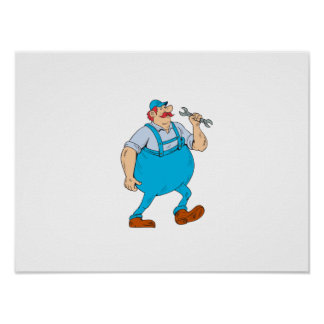 German Repairman Marching Spanner Cartoon Poster