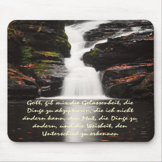 German Serenity Prayer  Autumn Waterfall Mousepad