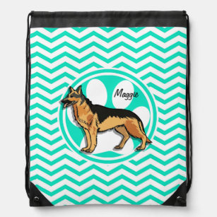 German Shepard; Aqua Green Chevron Drawstring Backpack