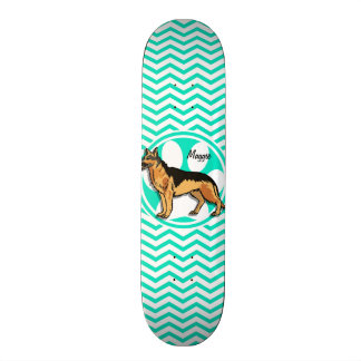 German Shepard; Aqua Green Chevron Skateboard Deck