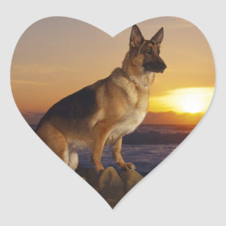 German Shepard At Sunset Heart Sticker