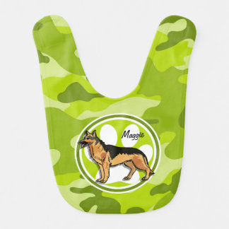 German Shepard; bright green camo, camouflage Baby Bib