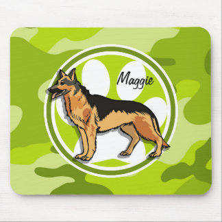German Shepard; bright green camo, camouflage Mouse Pad