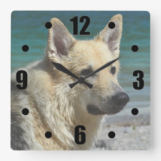 German Shepard By The Sea Square Wall Clock