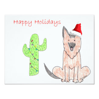 German Shepard Dog Cactus Christmas Card