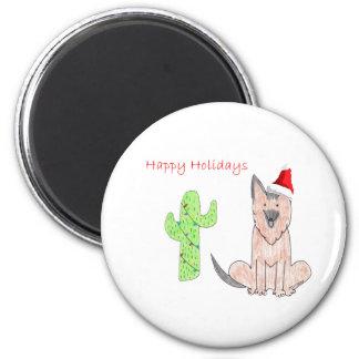German Shepard Dog Cactus Christmas Magnet