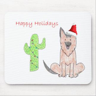 German Shepard Dog Cactus Christmas Mouse Pad