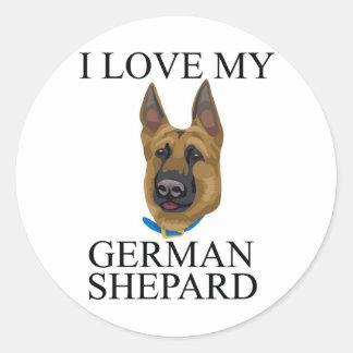 German Shepard Love Round Stickers