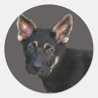 German Shepard Puppy-Pastels Round Stickers