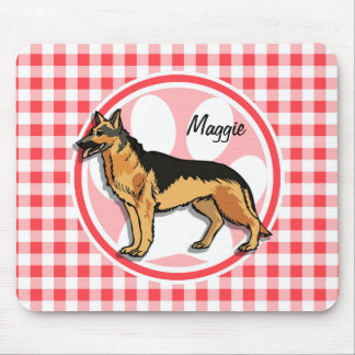German Shepard; Red and White Gingham Mouse Pad