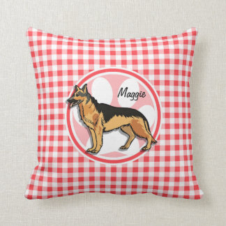 German Shepard; Red and White Gingham Throw Pillows