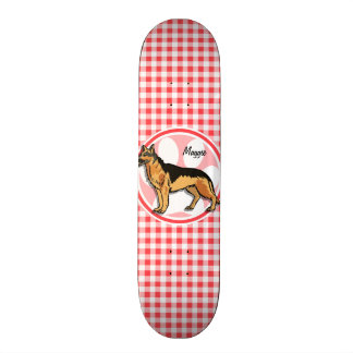 German Shepard; Red and White Gingham Skateboard Deck