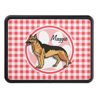 German Shepard; Red and White Gingham Tow Hitch Covers