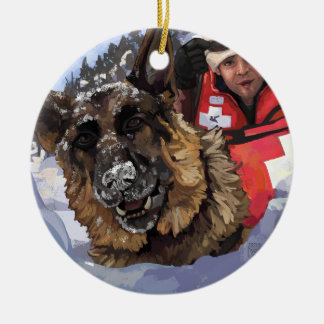 German Shepard Search and Rescue in the Snow Ceramic Ornament
