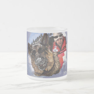 German Shepard Search and Rescue in the Snow Frosted Glass Coffee Mug