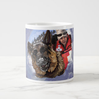 German Shepard Search and Rescue in the Snow Large Coffee Mug