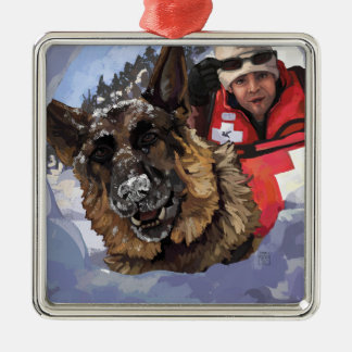 German Shepard Search and Rescue in the Snow Metal Ornament