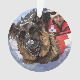 German Shepard Search and Rescue in the Snow Ornament