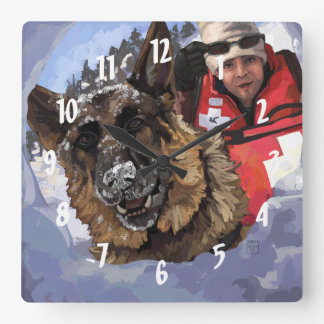 German Shepard Search and Rescue in the Snow Square Wall Clock