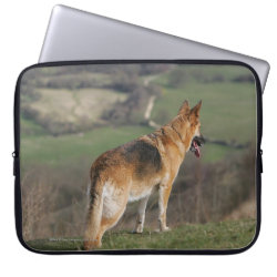 German Shephard Looking Down Hill Laptop Sleeve