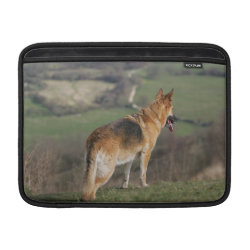 German Shephard Looking Down Hill MacBook Sleeve
