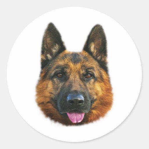 German shepherd alsatian k 9 dog round sticker zazzle for Custom dog face t shirt