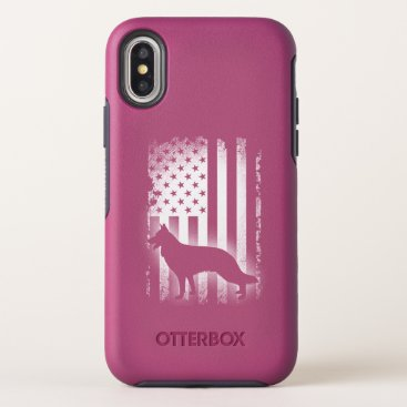 German Shepherd American Flag OtterBox Symmetry iPhone XS Case