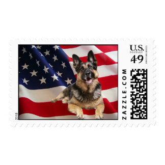 German Shepherd American Flag Postage Stamp