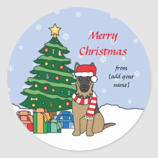 German Shepherd and Christmas Tree Classic Round Sticker