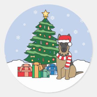 German Shepherd and Christmas Tree Round Sticker