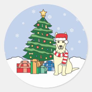 German Shepherd and Christmas Tree Sticker