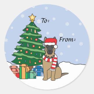 German Shepherd and Christmas Tree Stickers