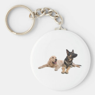 german shepherd and golden retriever key chain