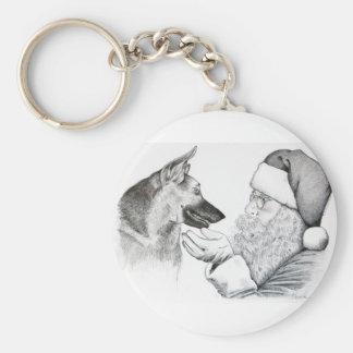 German Shepherd and Santa Claus Basic Round Button Keychain