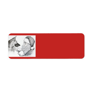German Shepherd and Santa Claus Christmas Label