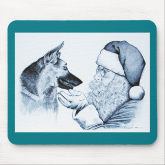 German Shepherd and Santa Claus Mouse Pad