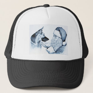 German Shepherd and Santa Claus Trucker Hat