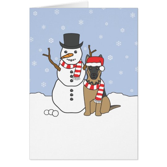 German Shepherd and Snowman Card