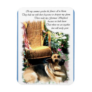German Shepherd Art Summer Garden Magnet