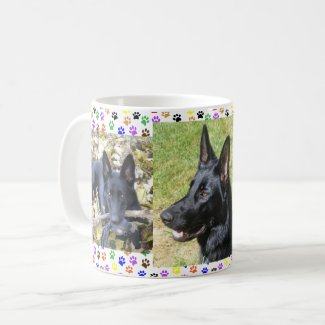 German Shepherd, Autumn, 3 Pics & Paw Prints, ZKA Coffee Mug