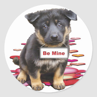 German Shepherd, Babe Classic Round Sticker