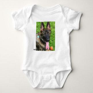 """German Shepherd baby bodysuit """"Wanna Play?"""""""