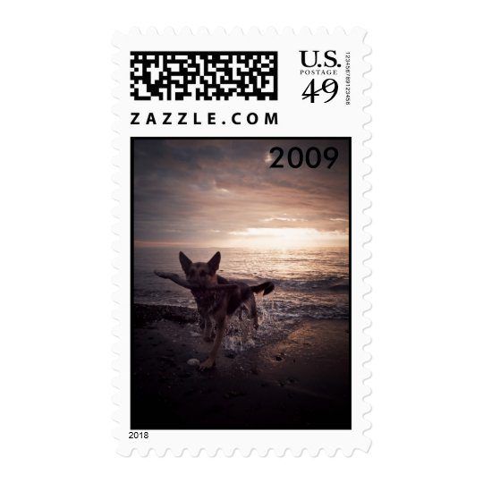 German Shepherd Beach Postage