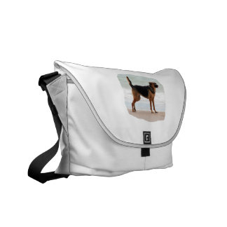 German Shepherd beach stand tongue out Courier Bag