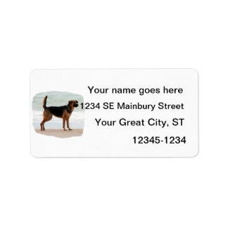 German Shepherd beach stand tongue out Label