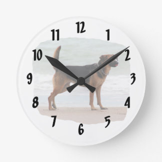 German Shepherd beach stand tongue out Round Clock