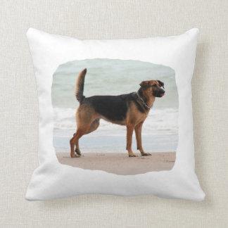 German Shepherd beach stand tongue out Throw Pillow
